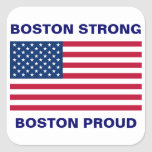 Boston fuerte y orgullosa con la bandera patriótic colcomanias cuadradas personalizadas