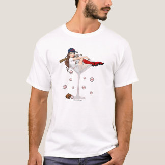 Boston Girl Baseball Martini T-Shirt