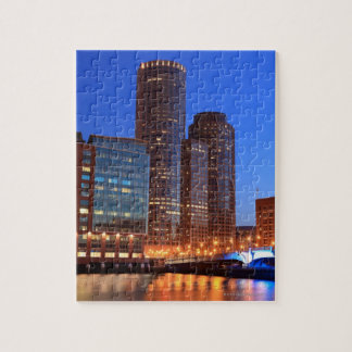Boston Harbor and skyline.  Boston is one of the 2 Jigsaw Puzzle