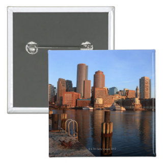 Boston Harbor and skyline.  Boston is one of the 3 2 Inch Square Button
