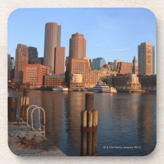 Boston Harbor and skyline.  Boston is one of the 3 Drink Coaster