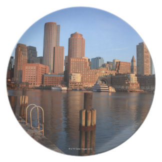 Boston Harbor and skyline.  Boston is one of the 3 Melamine Plate