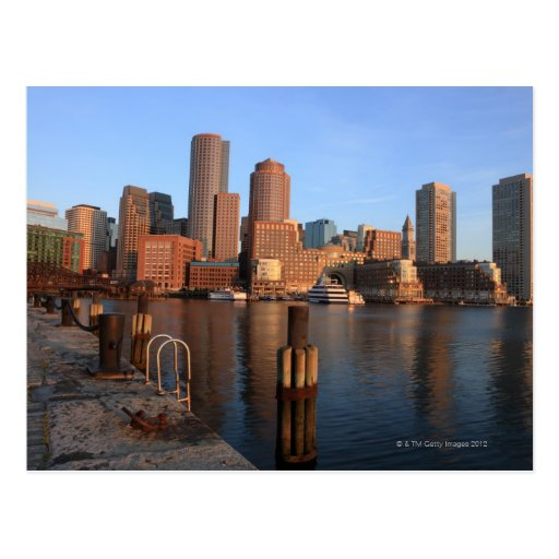 Boston Harbor and skyline.  Boston is one of the 3 Post Card