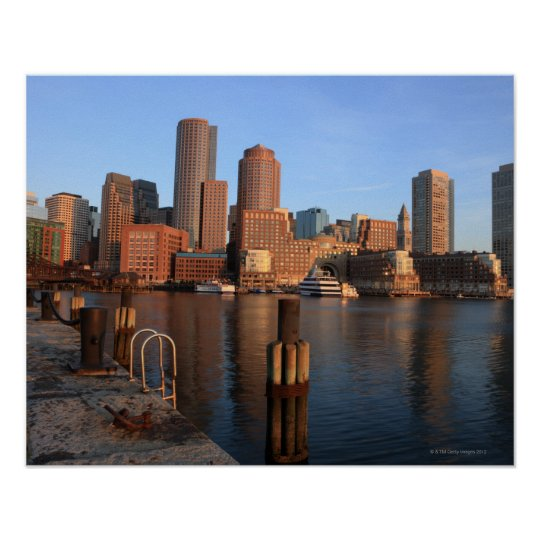 Boston Harbor and skyline.  Boston is one of the 3 Poster
