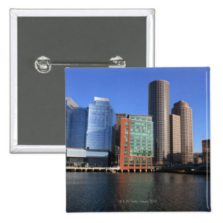Boston Harbor and skyline.  Boston is one of the 4 2 Inch Square Button