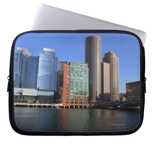 Boston Harbor and skyline.  Boston is one of the 4 Laptop Sleeve