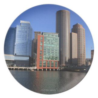 Boston Harbor and skyline.  Boston is one of the 4 Melamine Plate