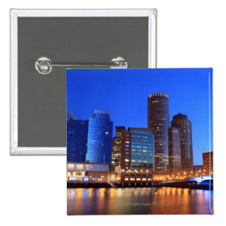 Boston Harbor and skyline.  Boston is one of the 5 2 Inch Square Button