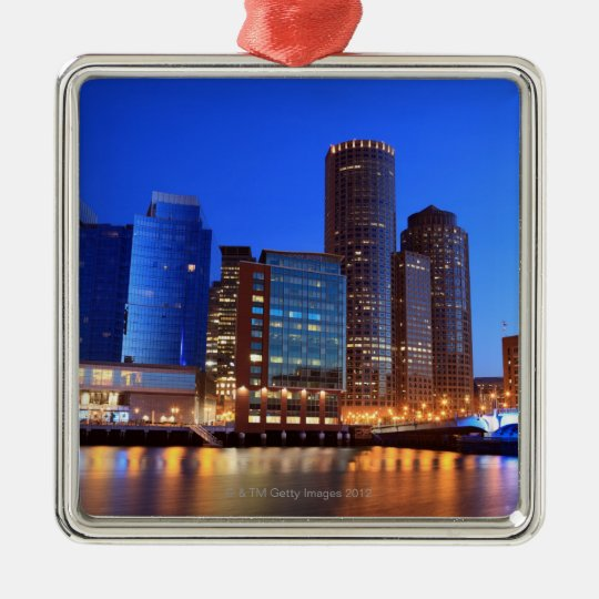 Boston Harbor and skyline.  Boston is one of the 5 Metal Ornament