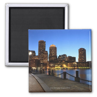 Boston Harbor and skyline.  Boston is one of the 6 2 Inch Square Magnet