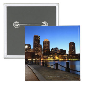 Boston Harbor and skyline.  Boston is one of the 6 2 Inch Square Button