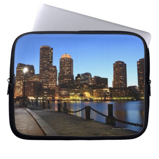 Boston Harbor and skyline.  Boston is one of the 6 Computer Sleeve