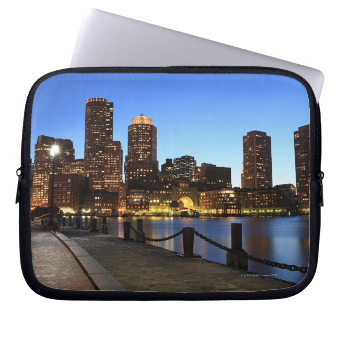 Boston Harbor and skyline.  Boston is one of the 6 Laptop Sleeves