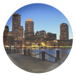 Boston Harbor and skyline.  Boston is one of the 6 Melamine Plate