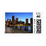 Boston Harbor and skyline.  Boston is one of the 6 Stamps
