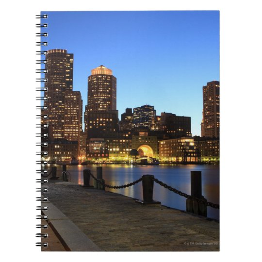 Boston Harbor and skyline.  Boston is one of the 6 Spiral Notebook