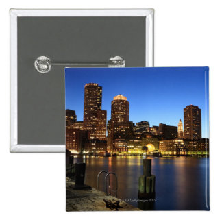 Boston Harbor and skyline.  Boston is one of the 7 2 Inch Square Button