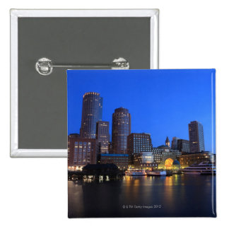 Boston Harbor and skyline.  Boston is one of the 8 2 Inch Square Button
