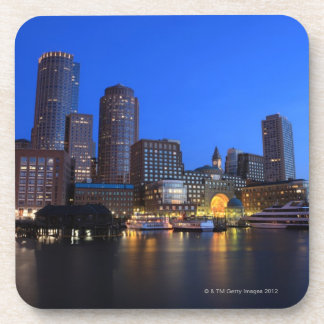 Boston Harbor and skyline.  Boston is one of the 8 Drink Coaster