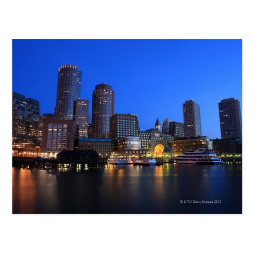 Boston Harbor and skyline.  Boston is one of the 8 Post Card