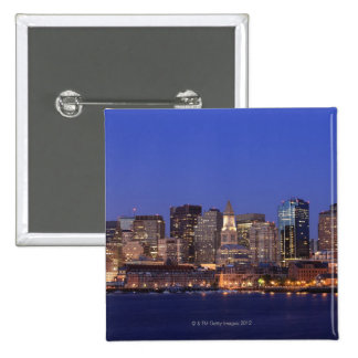 Boston Harbor and skyline.  Boston is one of the 9 2 Inch Square Button