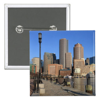 Boston Harbor and skyline.  Boston is one of the 2 Inch Square Button