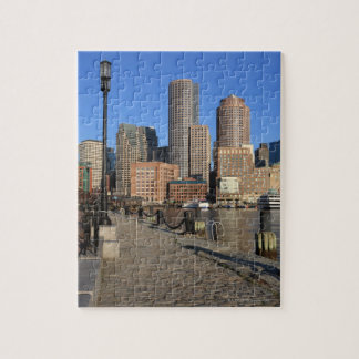 Boston Harbor and skyline.  Boston is one of the Jigsaw Puzzle
