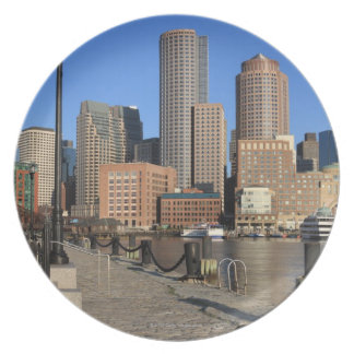 Boston Harbor and skyline.  Boston is one of the Melamine Plate