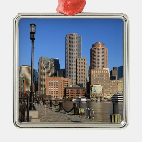 Boston Harbor and skyline.  Boston is one of the Metal Ornament