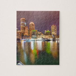 boston harbor at night jigsaw puzzle