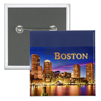 Boston Harbor at Night text BOSTON Pinback Button