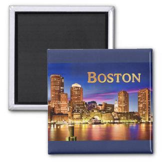 Boston Harbor at Night text BOSTON Magnet