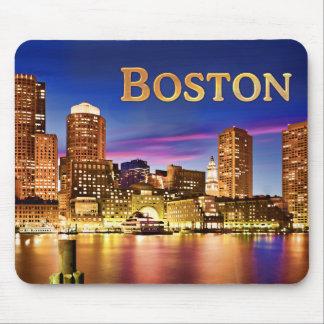 Boston Harbor at Night text BOSTON Mouse Pad