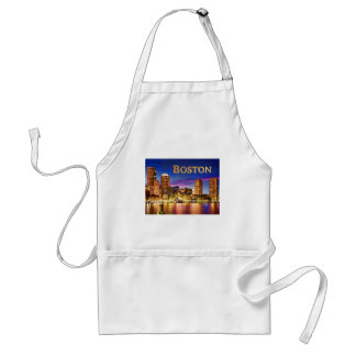 Boston Harbor at Night text BOSTON.png Adult Apron