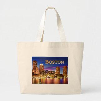 Boston Harbor at Night text BOSTON.png Large Tote Bag