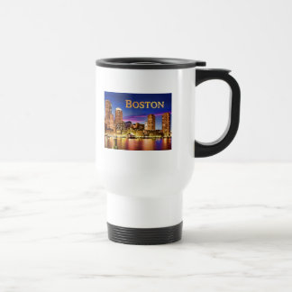Boston Harbor at Night text BOSTON Travel Mug