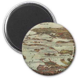 Boston Harbor Birdseye-view map 2 Inch Round Magnet