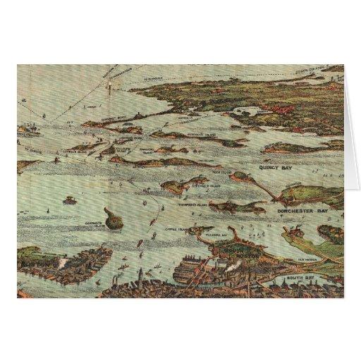 Boston Harbor Birdseye-view map Card