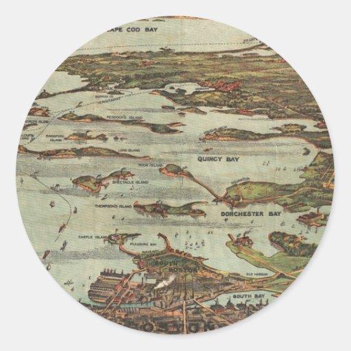 Boston Harbor Birdseye-view map Classic Round Sticker