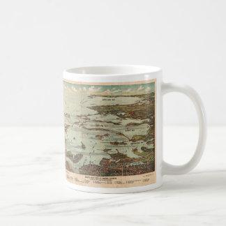 Boston Harbor Birdseye-view map Classic White Coffee Mug