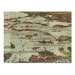Boston Harbor Birdseye-view map Postcard