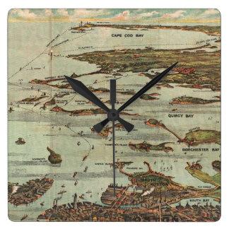 Boston Harbor Birdseye-view Map Square Wall Clock