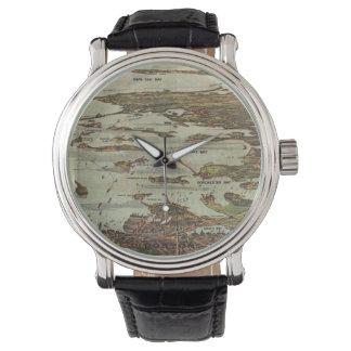 Boston Harbor Birdseye-view Wrist Watch