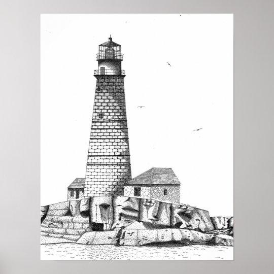 Boston Harbor Lighthouse Poster