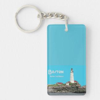Boston Harbor Lighthouse Single-Sided Rectangular Acrylic Keychain