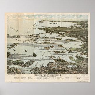 Boston Harbor MA 1920 Antique Panoramic Maps Poster