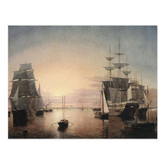 Boston harbor postcard