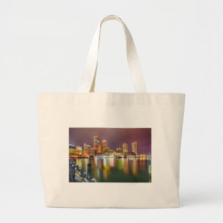 Boston Harbor skyline Large Tote Bag