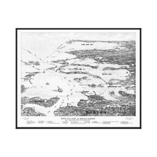 Boston Harbor to Cape Cod early 1900s Map Canvas Print