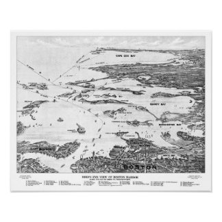 Boston Harbor to Cape Cod early 1900s Map Poster